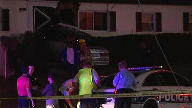 A car crashed into a Winston-Salem apartment late Tuesday night. No one was seriously injured.