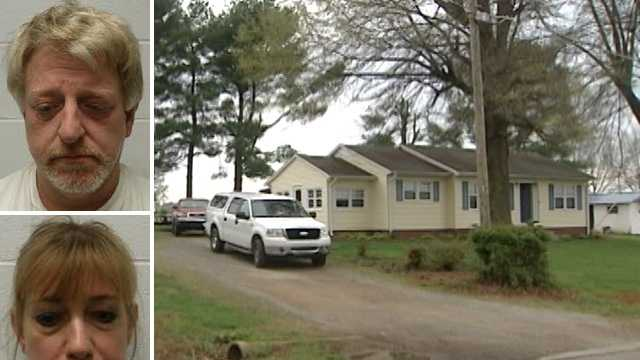 Top left: Michael Brown. Bottom left: Amber Mundy. Right: Home of meth lab bust.