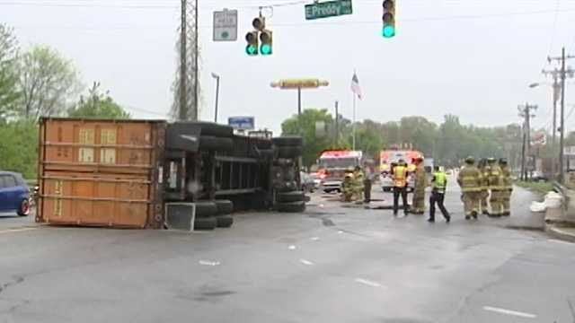 A truck overturned on MLK Jr. Drive in Greensboro Tuesday.