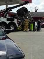 A medical emergency led to a crash involving three cars and a gas pump Tuesday, Greensboro police said.