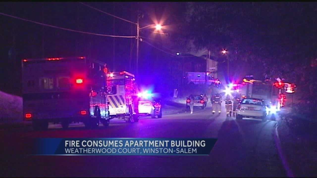 An apartment fire on Weatherwood Court broke out Saturday night in Winston Salem.  One person is in critical condition, and 29 people are currently displaced.