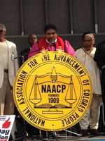The  NC NAACP President, Rev. William Barber, speaking at Moral Monday in Winston-Salem