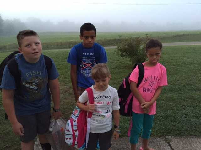 Kiddos on their first day back to school! 2-3 and 6-7.