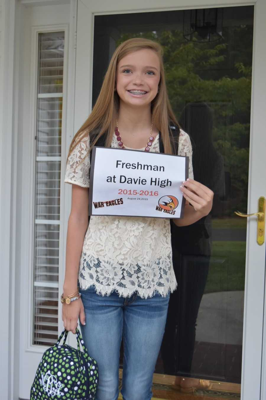 Maddie Grace Bell, a freshman at Davie High...thanks for sending Chris Lea to our campus this morning!