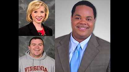 Top left: Alison Parker. Bottom left: Adam Ward. Right: Vester Flanigan.