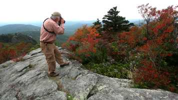 Sept. 21: Although autumn colors are just beginning to arrive on Grandfather Mountain, a few areas, such as Cliffside Overlook, are already providing opportunities to capture colorful images of foliage at higher elevations.