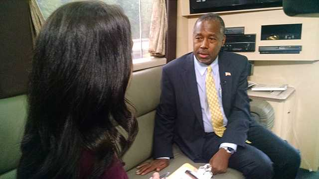 Nicole Ducouer interviewed Ben Carson on his campaign bus before he gave a speech in Winston-Salem on Tuesday. Watch her reports starting at 5.
