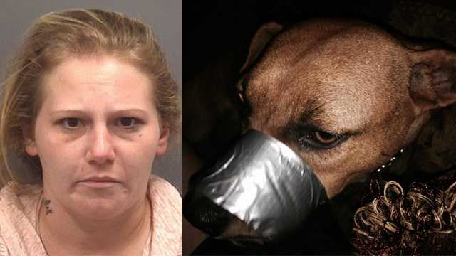 Kimberly Howell was arrested after deputies said she posted pictures of her dog with its mouth duct-taped shut to Facebook.