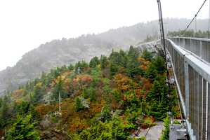 While fall color hasn't quite peaked in the North Carolina High Country, Grandfather Mountain's Mile High Swinging Bridge offers some peak viewing -- literally!