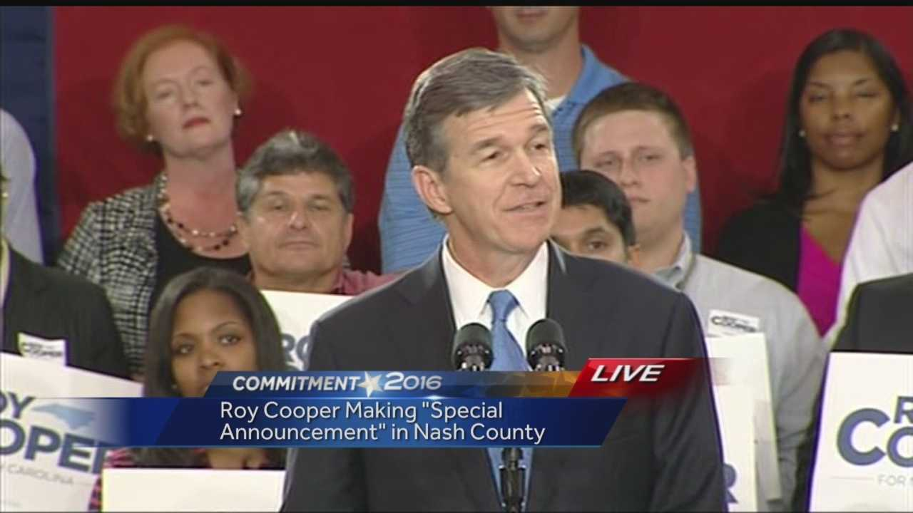 North Carolina Attorney General Roy Cooper speaks to supporters Monday in Nash County.
