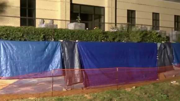 Authorities said the mural was defaced on Friday.
