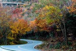 Oct. 22: Autumn color brightens up the view along Highway 221 near Grandfather Mountain.