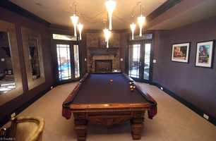 Billiard Room with fireplace