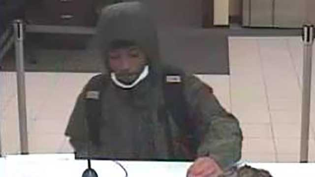 Surveillance image of robbery suspect at Wells Fargo bank in Greensboro
