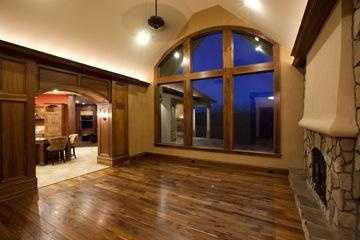 Great Room with fireplace and hardwood floors