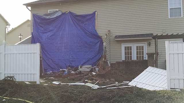 This Thomasville townhouse was damaged after a truck crashed into it Monday night.