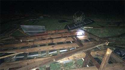 An EF-0 tornado was confirmed in Union County, near Charlotte, where this damage was spotted Monday night.