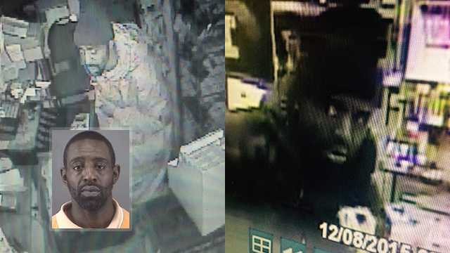 Bottom left: James Rawls. Background: Surveillance images of business break-in suspect.