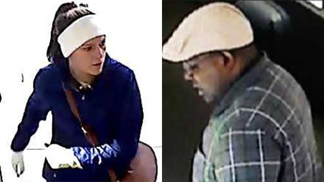 FBI officials said the woman is wanted in all six incidents, while the male suspect has been seen in surveillance video in three incidents.