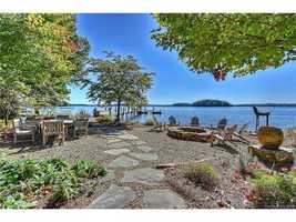 Waterfront outdoor entertaining with private beach area