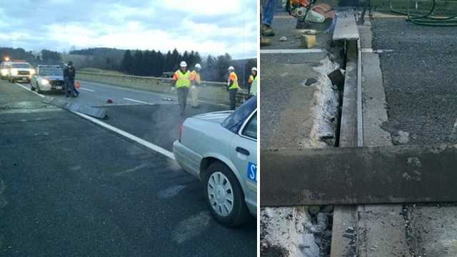 A damaged bridge closed Interstate 77 south in Carroll County Monday.