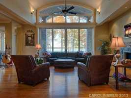 Two-story Great Room with views of Lake Norman