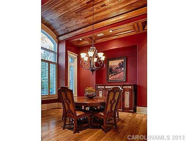 Dining Room with a barrel wood ceiling