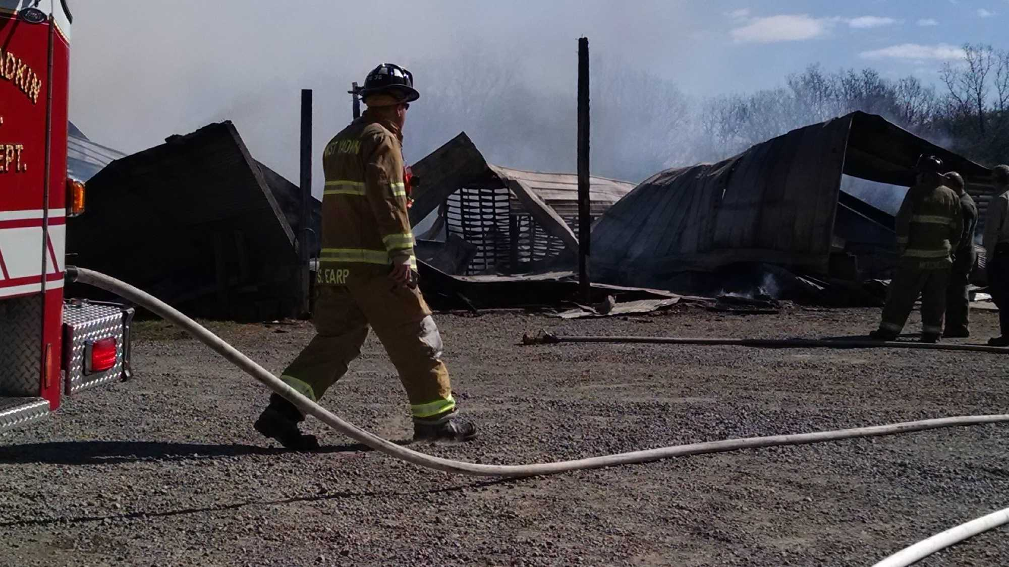 The fire occurred in the 1900 block of Mountain Grove Road in Hamptonville.