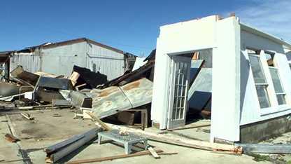 Tornado damage in Davis, North Carolina