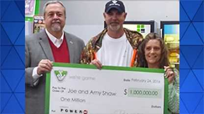 Joe and Amy Shaw of Westfield bought the winning $1 million ticket just across the border in Cana, Virginia.