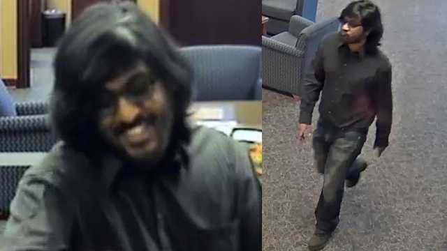 Surveillance images of wanted suspect in PNC Bank robbery at Friendly Center