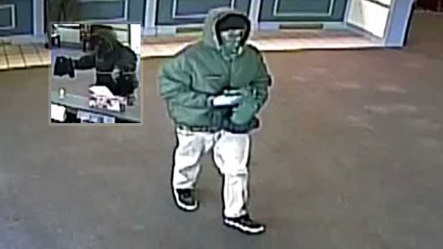 Surveillance image of Reidsville bank robbery suspect