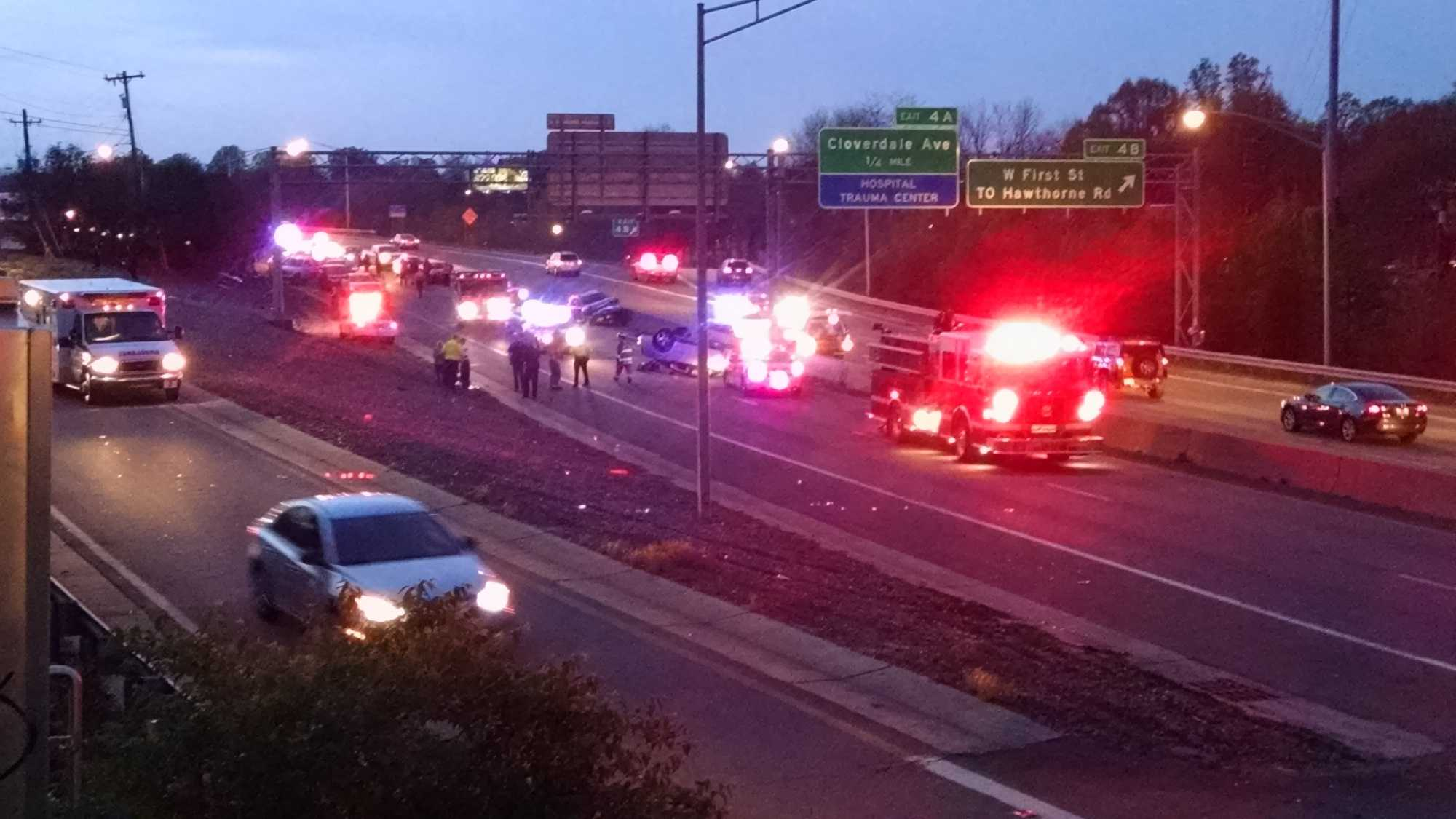 U.S. 421 South was closed between Stratford Road and Peters Creek Parkway on Wednesday evening as police investigated a crash.
