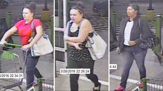 Surveillance images of suspects in felony larceny at Archdale Walmart Neighborhood Market