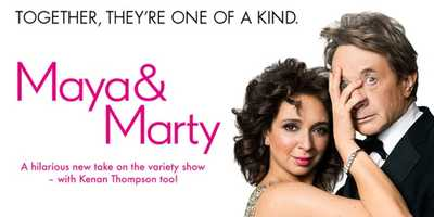 """Maya & Marty: Returns Soon. From Executive Producer Lorne Michaels, from Studio 6A in Rockefeller Center, """"Maya & Marty"""" is a brand-new show that blends musical numbers, comedy sketches and celebrity guests into one jam-packed hour of primetime TV.Starring: May Rudolph, Martin Short, Kenan Thompson"""