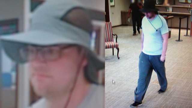 Surveillance image of SunTrust bank robbery suspect
