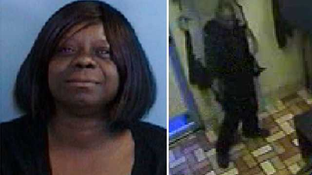 Left: Dorothy Hood. Right: Surveillance image of Biscuitville armed robbery suspect.