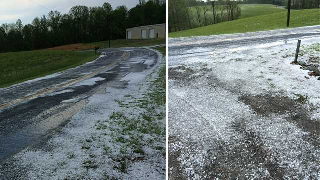 The hail looks like snow on the ground on Ray Loop Road near Francisco.