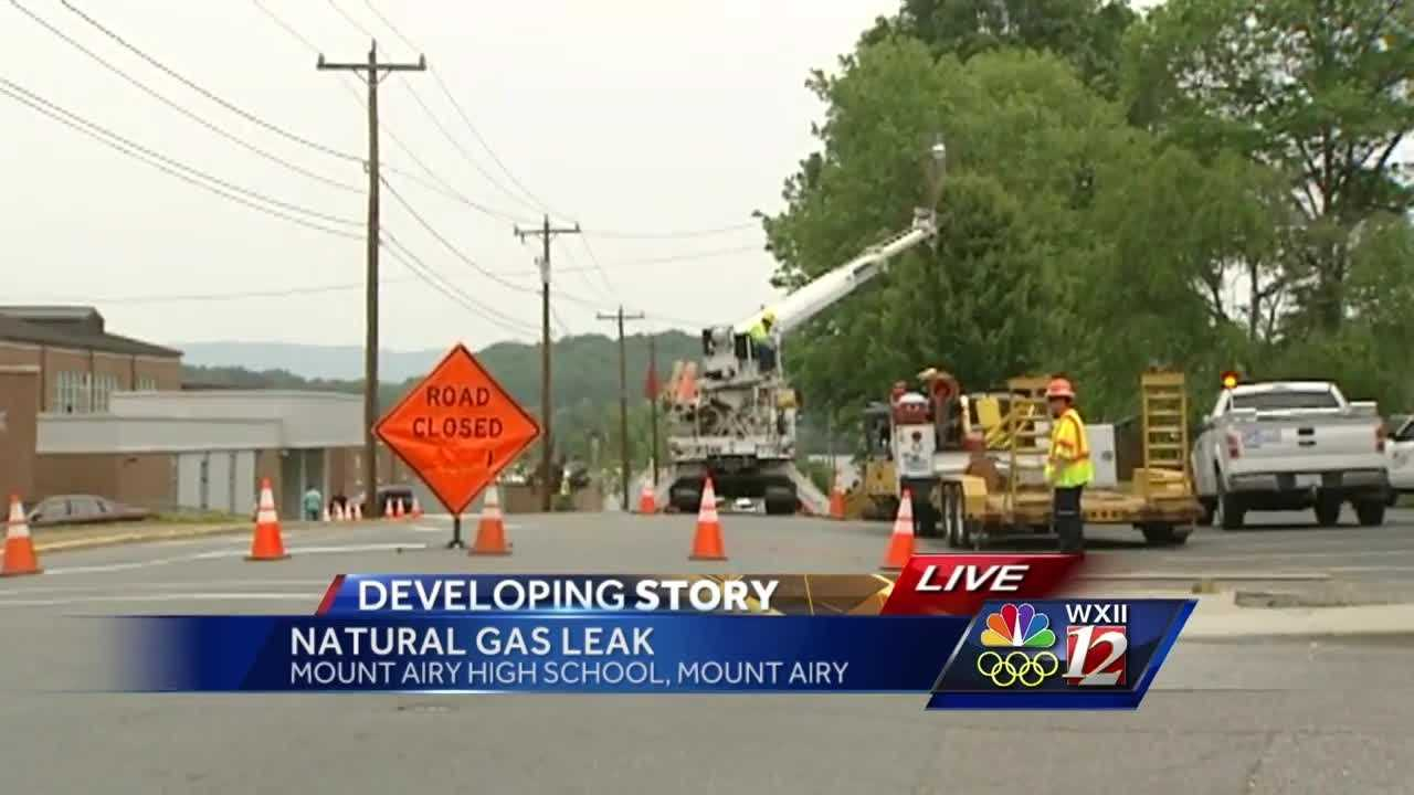 Mount Airy High School was evacuated Monday morning following a gas line rupture. Part of a street also was closed.