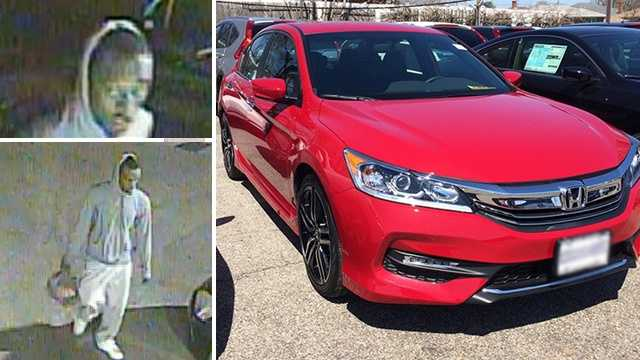Left: Surveillance images of carjacking suspect. Right: Vehicle identical to one stolen.