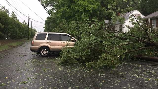 A tree fell on a car on Woodcote Street and Clemmonsville Road in Winston-Salem.
