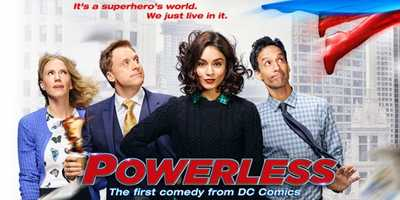 """Powerless: Coming Soon. In the first comedy series set in the universe of DC Comics, Emily, a spunky young insurance adjuster specializing in regular-people coverage against damage caused by the crime-fighting superheroes. But it's when she stands up to one of these larger-than-life figures (after an epic battle messes with her commute) that she accidentally becomes a cult """"hero"""" in her own right… even if it's just to her group of lovably quirky coworkers. Now, while she navigates her normal, everyday life against an explosive backdrop, Emily might just discover that being a hero doesn't always require superpowers. Half-hour comedy (single-camera).Cast: Vanessa Hudgens."""