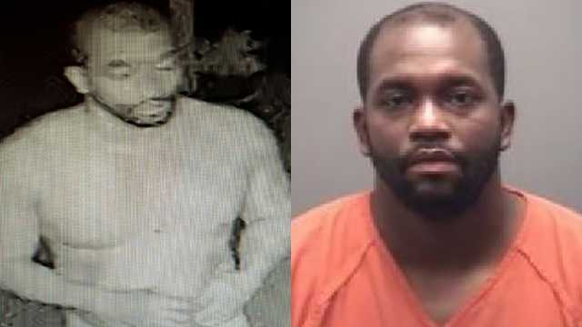 Rontae Hayes was captured on surveillance video (left) wearing only underwear following a series of crimes in and around Reidsville.