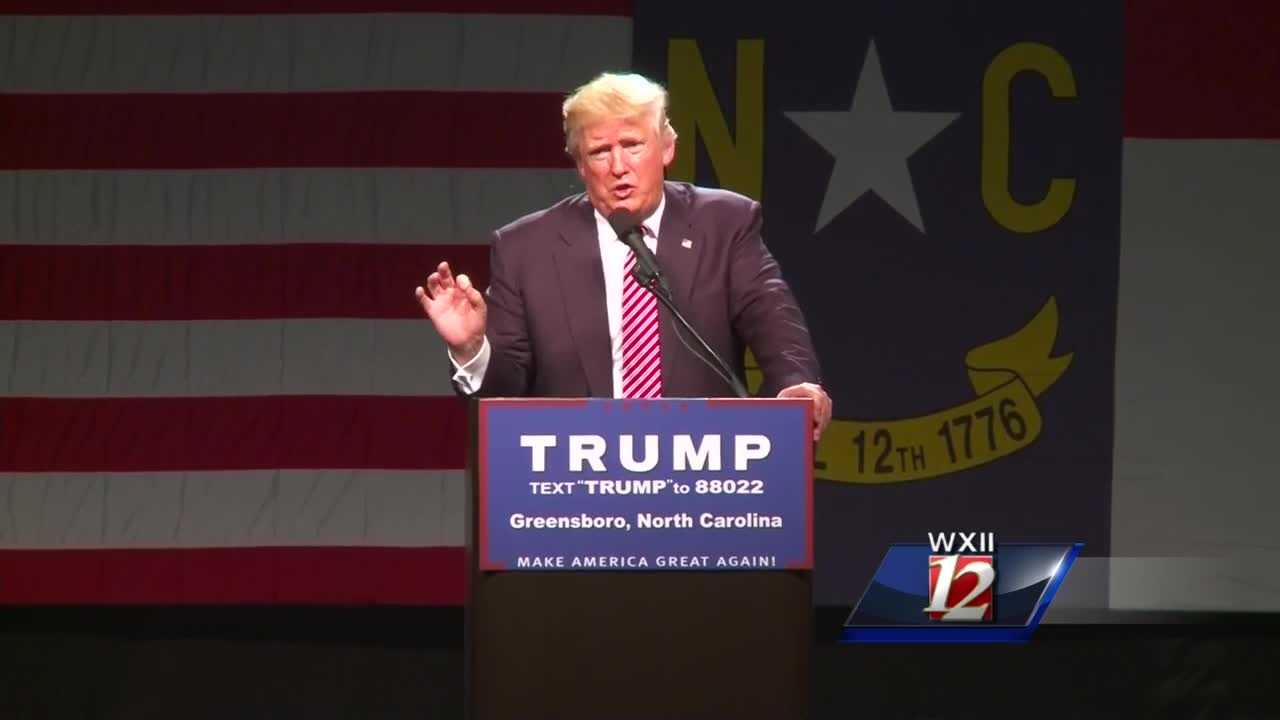 Donald Trump holds a campaign event at the Greensboro Coliseum Special Events Center on June 14, 2016.