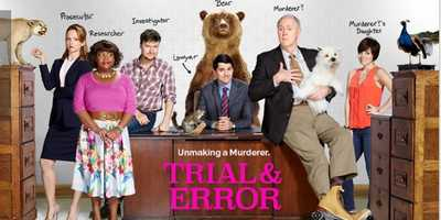 """Trial & Error: Coming Soon. In this outrageous fish-out-of-water comedy, Josh Segal, a bright-eyed New York lawyer, heads to a tiny Southern town for his first big case. His mission? To defend an eccentric, """"rollercizing"""" poetry professor accused of the bizarre murder of his beloved wife. Settling into his makeshift office behind a taxidermy shop and meeting his quirky team of local misfits, Josh suspects that winning his first big case will not be easy - especially when his client is always making himself look guilty. """"Making a Murderer"""" can be funny! Half-hour comedy (single-camera)Cast: Steven Boyer, Nicholas D'Agosto, Del Hunter-White, John Lithgow, Jayma Mays, Angel Parker, Krysta Rodriguez, and Sherri Shepherd."""