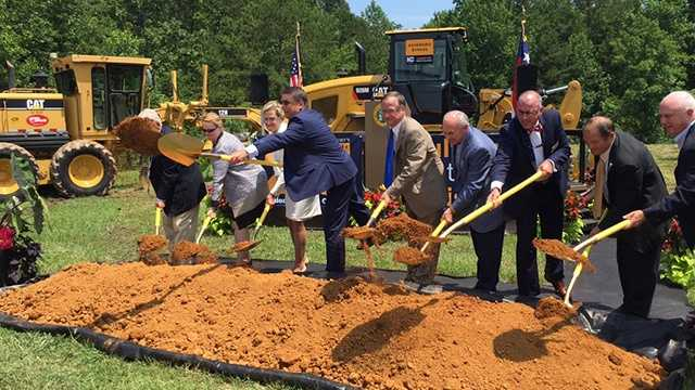 Gov. Pat McCrory and other state officials broke ground for the Highway 64 bypass in Asheboro.
