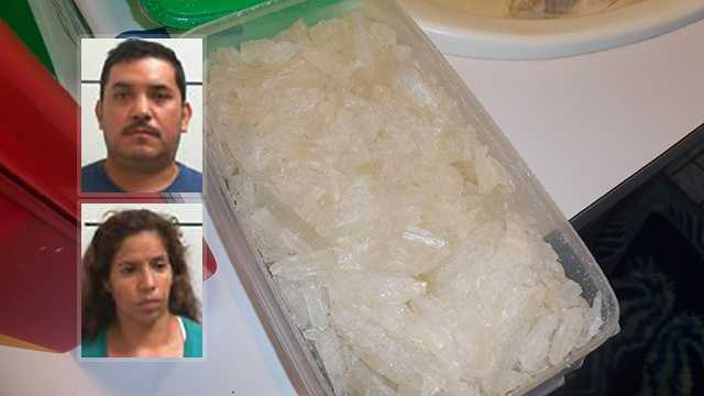 Top left: Anselmo Gutierrez. Bottom left: Eliva Gutierrez. Background: Crystal meth seized during investigation.
