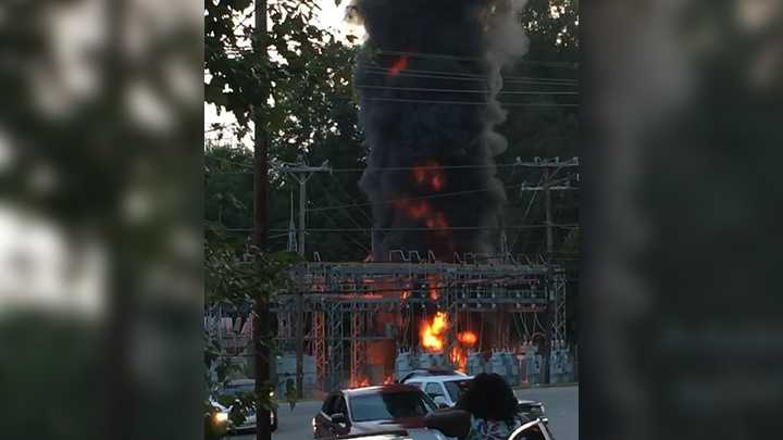 A transformer exploded and caught fire in Winston-Salem Sunday. As many as 14,000 Duke Energy customers lost power.