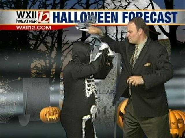 Austin got a visitor while doing weather and used his new martial arts to fight him off...