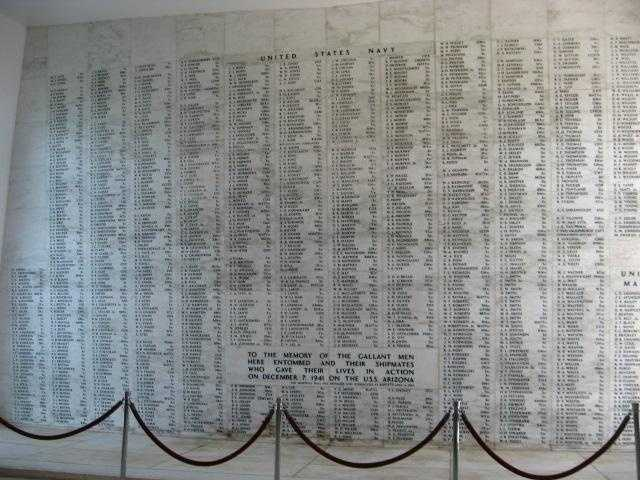 The U.S.S. Arizona Memorial Museum (Oahu, Hawaii) has a giant wall with all the names of the ship's 1177 crewmen who lost their lives on December 7, 1941.
